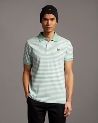 LYLE&SCOTT STRIPE POLO SHIRT SEA MINT LIGHT GREY