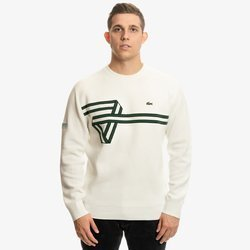 SWETER LACOSTE BAND DESIGN HERITAGE KNIT SWEATER