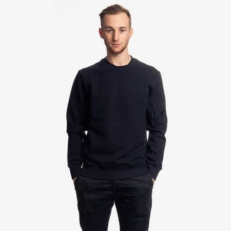 CP COMPANY CREWNECK DIAGONAL RAISED FLEECE DARK NAVY